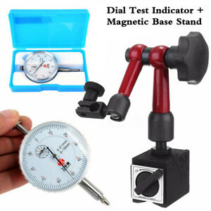 Flexible Magnetic Base Holder Stand W White Dial Test Indicator Gauge Precision