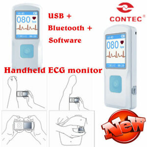 Handheld Portable Ecg Monitor Heart Rate Beat Lcd Bluetooth Electrocardiogram sw