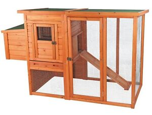 2 Story Hinged Roof Chicken Coop Wood Wire Hen House