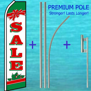 Sale Christmas Flutter Flag 15 Tall Premium Pole Kit Feather Swooper Banner