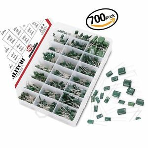 Hilitchi 700pcs 24 value Mylar Polyester Film Capacitor Assortment Kit 0 22