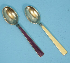 2 Antique Sterling Silver Spoons Marthinsen Guilloche Enameled Demitasse Norway