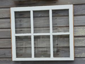 Architectural Salvage Unique Antique Window Sash Frame 32x27 6 Pane Decor