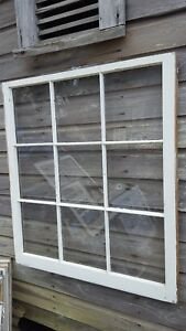 Architectural Salvage Unique Antique Window Sash Frame 40x36 9 Pane Picture
