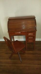Antique Child Size Oak Roll Top Desk With Original Chair Great Condition