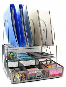 Easypag Mesh Desk Organizer Tray With 5 File Sorter Sections Double Letter Tray