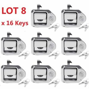 8x Toolbox Lock Stainless Door Key Latch Paddle Handle Rv Trailer 4 3 8 3 1 4