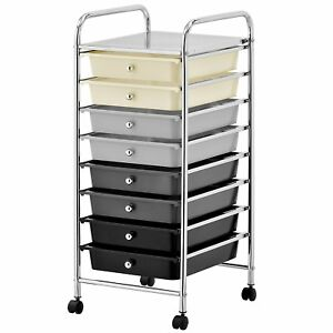 8 Drawer Rolling Trolley Storage Organizer Mobile Office Supply Cart With Pull