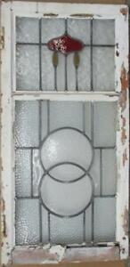 Large Old English Leaded Stained Glass Window Beautiful Abstract 19 25 X 39 25