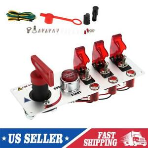 12v Race Car Ignition Accessory Engine Start Push Button Toggle Switch Panel