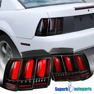 For 1999 2004 Ford 99 04 Mustang Sequential Led Tail Lights Brake Shiny Black