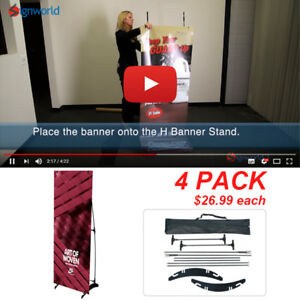 Portable H Banner Stand Trade Show Booth Exhibit Display 24 x63 4 Pcs