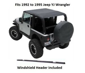 Jeep Extended Bikini Top With Windshield Header For 92 95 Jeep Yj Wrangler