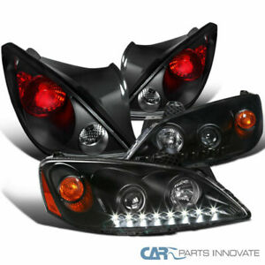 Pontiac 06 09 G6 Black Led Projector Headlights tail Lights Rear Brake Lamps