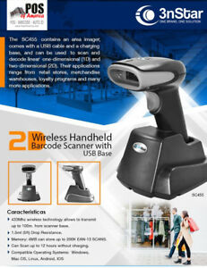 3nstar Wireless Handheld Pos Barcode Scanner 2d Usb Base Sc455 Pcamerica Aldelo