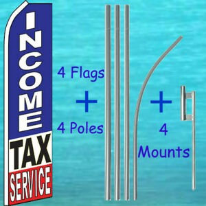 Income Tax Service 4 Flutter Flags 4 Pole Kits Sign Feather Swooper Banner