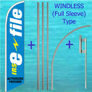 Irs E file Windless Feather Flag Pole Mount Kit Tall Income Tax Swooper Banner