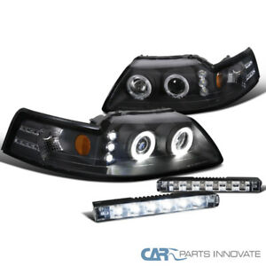 Ford 99 04 Mustang Black Halo Projector Headlights led Fog Lights Bumper Lamps