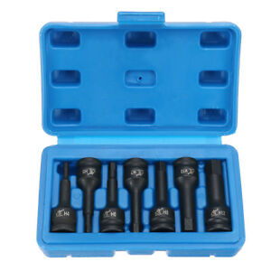 3 8 Drive Impact Socket Hex Bits 7pc Sae Set Standard Long Air Allen Driver