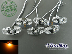6 Tecniq Clear Amber Led Light Clearance Marker Trailer Truck Surface 2 Wire