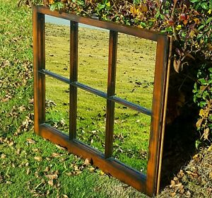 Mid Century Antique Window Sash Frame Dark Walnut Stained With Mirrors Wow