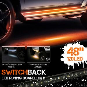 2pc 48 120smd Led Amber White Switchback Strip Car Truck Suv Step Signal Light