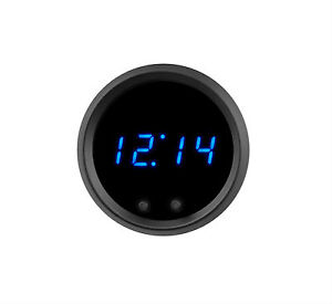 2 1 16 Universal Automotive Digital Clock Blue Led Gauge With Black Bezel