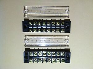 2pcs Terminal Blocks strips 8 Position 15a 600v Rated Snap On Clear Cover Nice