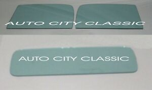 1937 1938 Plymouth Pickup Door And Rear Back Glass Set In Original Green Tint