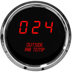 Digital Outside Air Temperature Gauge W Sender Red Leds Chrome Bezel Warranty