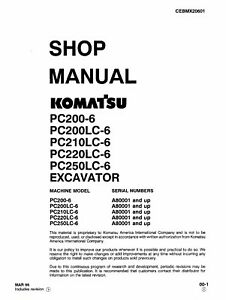 Komatsu Pc200 6 Pc200lc 6 Pc210lc 6 Excavator Service Shop Manual In Ring Binder