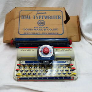Vintage Tin Toy Typewriter Made By Louis Marx Co New York Rare In The Box