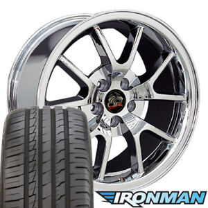 18x9 Wheels And Tires Fit Ford Mustang Fr500 Style Chrome Rims W ironman W1x