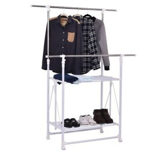 Adjustable Double Rail Folding Rolling Clothes Storage Rack Hanger W 2 Shelves