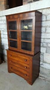 Antique Empire Bookcase Cabinet With Drawers