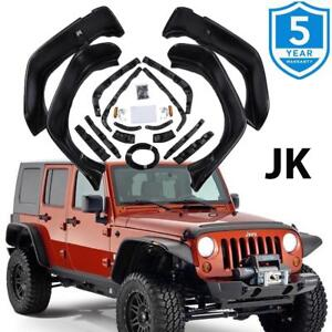For 07 2017 Jeep Jk Wrangler Black Textured Flat Style Front Rear Fender Flares