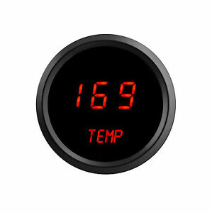 2 1 16 Digital Water Temperature Gauge Red Leds Black Bezel Made In The Usa