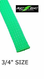 100 Ft 3 4 Neon Green Pet Expandable Wire Cable Sleeving Sheathing Braided Loom