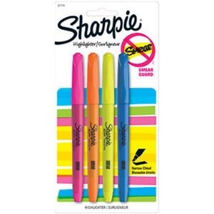 New Sharpie Smear Guard Pink Orange Yellow And Blue Highlighters 24 Pack