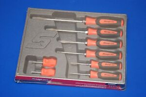 Snap On Tools 8 Piece Instinct Soft Grip Screwdriver Set Sgdx80bo New Ships Free