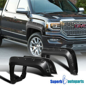 16 18 Gmc Sierra 1500 4pc Smooth Paintable Pocket Rivet Style Fender Flares