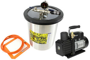 Svac 3 Gallon Stainless Steel Vacuum Chamber And Ve225 4cfm 2 Stage Vacuum Pump