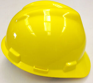 20 ea Msa V gard Yellow Safety Hard Hat Head Protection Construction Ratchet
