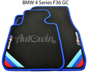 Bmw 4 Series F36 Gc Black Floor Mats Blue Rounds With m Power Emblem Lhd New