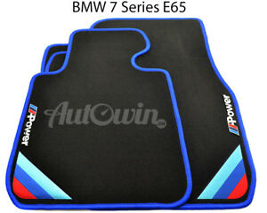 Bmw 7 Series E65 Black Floor Mats Blue Rounds With m Power Emblem Lhd New