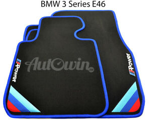Bmw 3 Series E46 Black Floor Mats Blue Rounds With m Power Emblem Lhd New