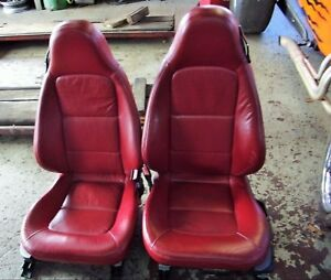 Bmw Z3 Front Power Heated Seats Set Red