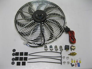 16 Chrome Electric Cooling Fan S blade Install Kit Relay 3000 Cfm