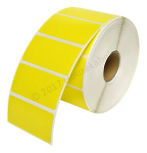 10 Rolls 13000 Labels 2 X 1 Direct Thermal Zebra Yellow Lp2824 Zp450 Lp2844