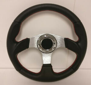320mm Black Pvc Leather Aluminum Center Black Red Stitching Steering Wheel